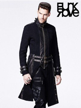 Mens Gothic Bronze Leather Long Coat