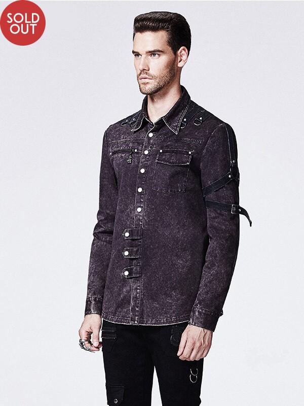 Mens Punk Fried Flower Long Sleeve Shirt