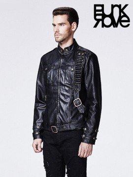 Mens Punk Military Style Leather Jacket