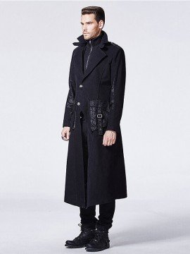 Mens Gothic Punk Fake Two-Piece Long Coat
