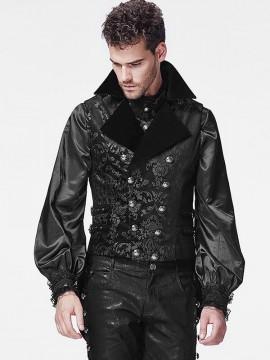 Mens Gothic Double Breasted Dark Flower Print Vest
