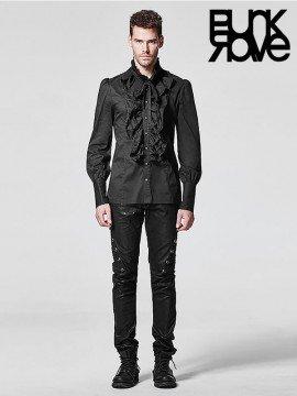 Mens Gothic Long Sleeve Ruffle Shirt - Black