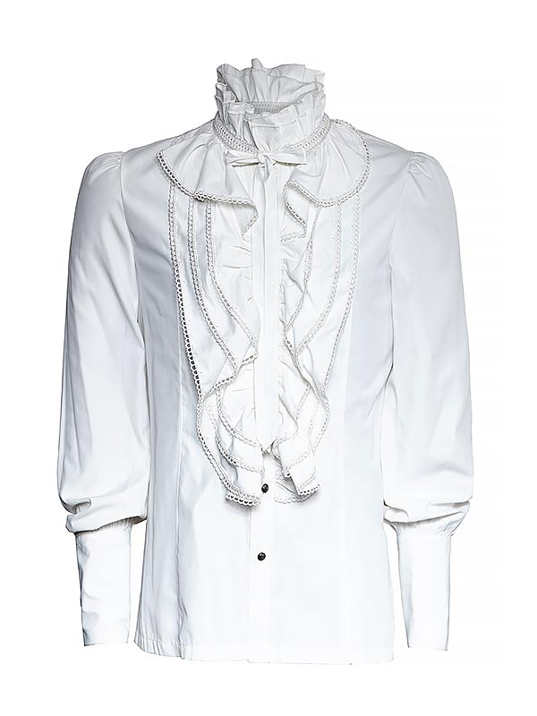 Mens Gothic Long Sleeve Ruffle Shirt -White
