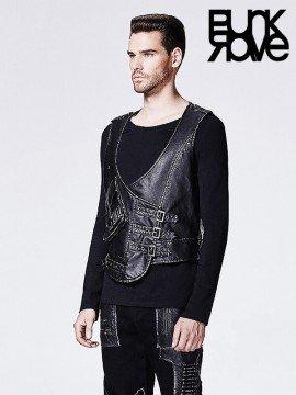 Mens Punk Military Bullet Pocket Leather Vest