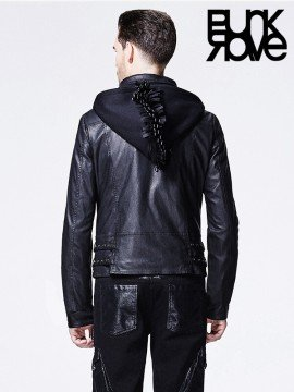 Mens Punk Cockscomb Hooded Leather Jacket