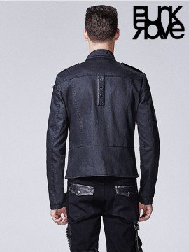 Mens Punk Skull Print Long Sleeve Coat