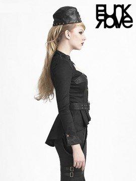 Military Style Collarless Shirt - Black