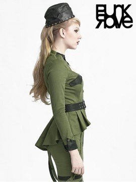 Military Style Collarless Shirt - Army Green