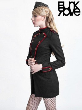 Military Style Wool Coat - Black