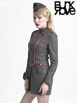 Military Style Wool Coat - Grey