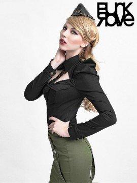 Military Style Long Sleeve Shirt - Black