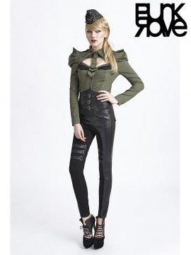 Military Style Long Sleeve Shirt - Army Green