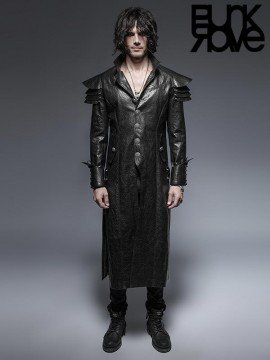 Mens Gothic Warrior Leather Long Coat