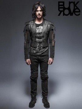 Mens Punk Leather Armor Warrior Short Jacket - Black