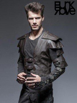 Mens Punk Leather Armor Warrior Short Jacket - Coffee