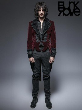 Mens Gothic Swallow Tail Jacket - Red