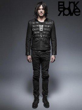 Mens Punk Leather & Metal Lock Long Sleeve Shirt