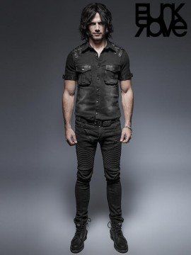 Mens Punk Short Sleeve Belting Shirt