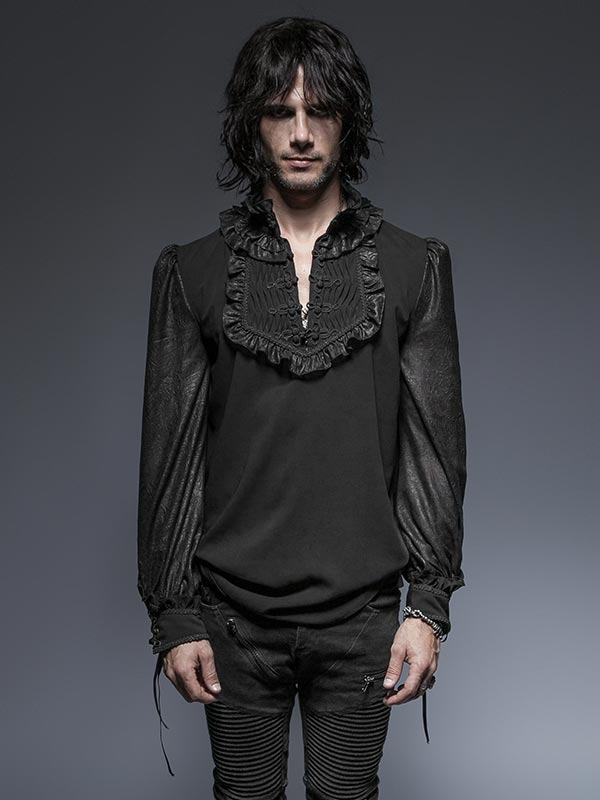Mens Gothic Plate Button Shirt