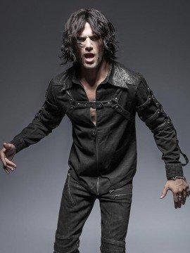 Mens Punk Long Sleeve Shirt - Black