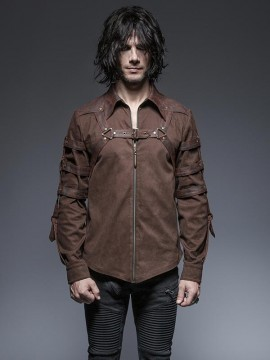 Mens Punk Long Sleeve Shirt - Coffee