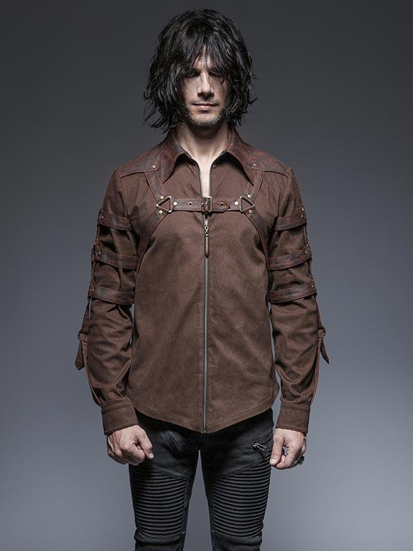 Mens Punk Long Sleeve Shirt - Coffee