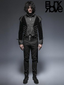 Mens Gothic Two-Piece Swallow Tail Long Coat