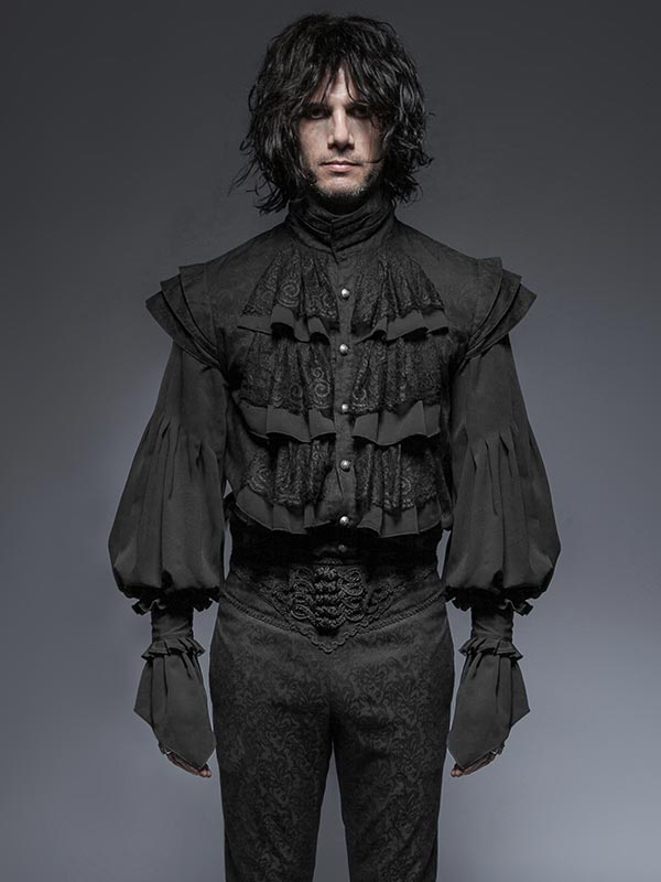 Mens Gothic Victorian Style Long Sleeve Shirt