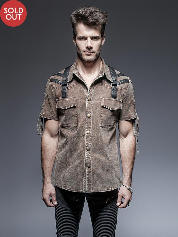 Mens Steampunk Short Sleeve Dress Shirt - Coffee