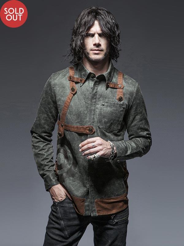 Mens Steampunk Long Sleeve Shirt - Grey