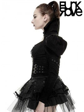 Gothic Steampunk Under Bust Jacket - Black