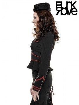 Punk Military Uniform Shirt - Black & Red