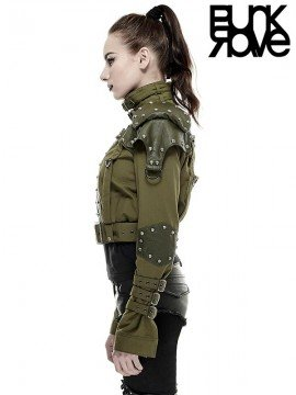 Rivet Decorated Military Jacket - Army Green