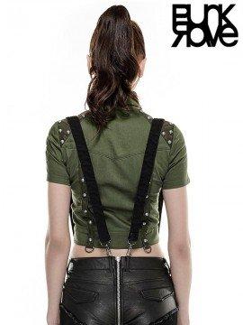 Rivet Studded Leather Military Uniform Shirt - Green