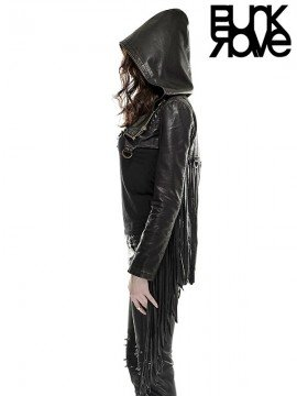 Punk Leather Short Hoodie