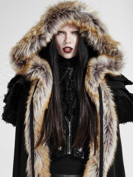 Gothic Wool Trim Long Cloak - Black