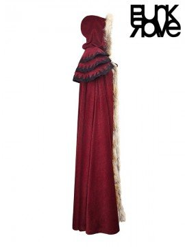 Mens Gothic Wool Trim Long Cloak - Red