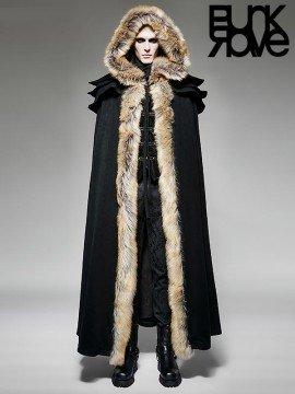 Mens Gothic Wool Trim Long Cloak - Black
