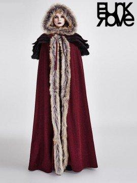 Gothic Wool Trim Long Cloak - Red & Black