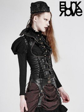 Steampunk High Collar Under Bust Corset - Black