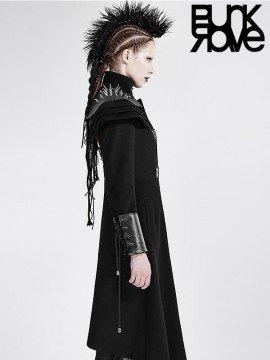 Steampunk Military Long Coat - Black