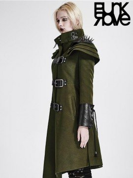 Steampunk Military Long Coat - Army Green
