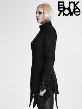 Gothic Woolen Forked Tail Lace Coat