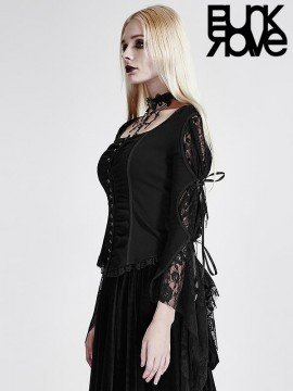 Gothic Rose Mesh Swallow Tail Top