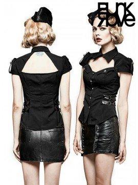 Punk Military Uniform Short Sleeve Shirt - Black