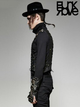 Mens Punk Military Warlord Vest - Bronze