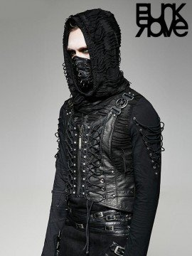 Mens Punk Military Warlord Vest - Silver