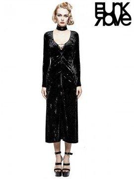 Gothic Retro Black & Gold Velvet Dress Coat