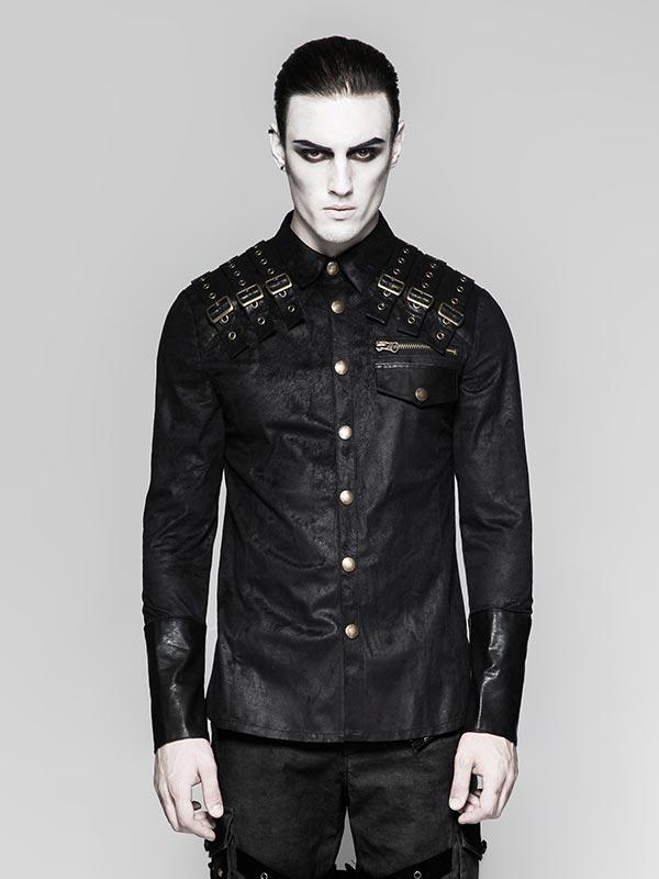Mens Heavy Metal Tri-Belt Long Sleeve Shirt