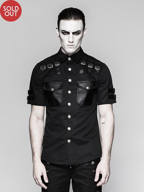 Mens Punk Military Uniform Short Sleeve Black Shirt